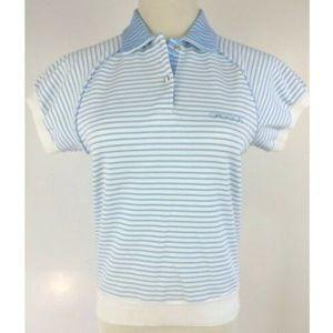 VTG 70s 80s Sasson Polo Shirt Stripe Crop Top S